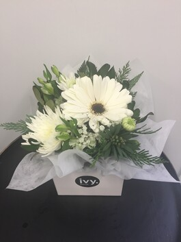 White & Green Posy Box